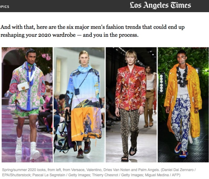 Los Angelis Times: June 26 2019  Gender-bending fashion and 5 other menswear trends for spring/summer 2020