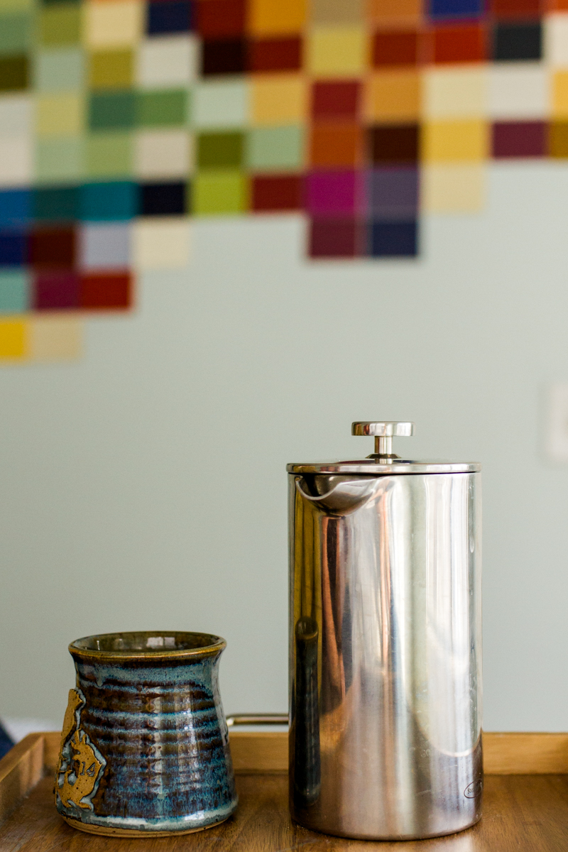 French press coffee and mug during an intimate in-home couples session in Kansas City, MO