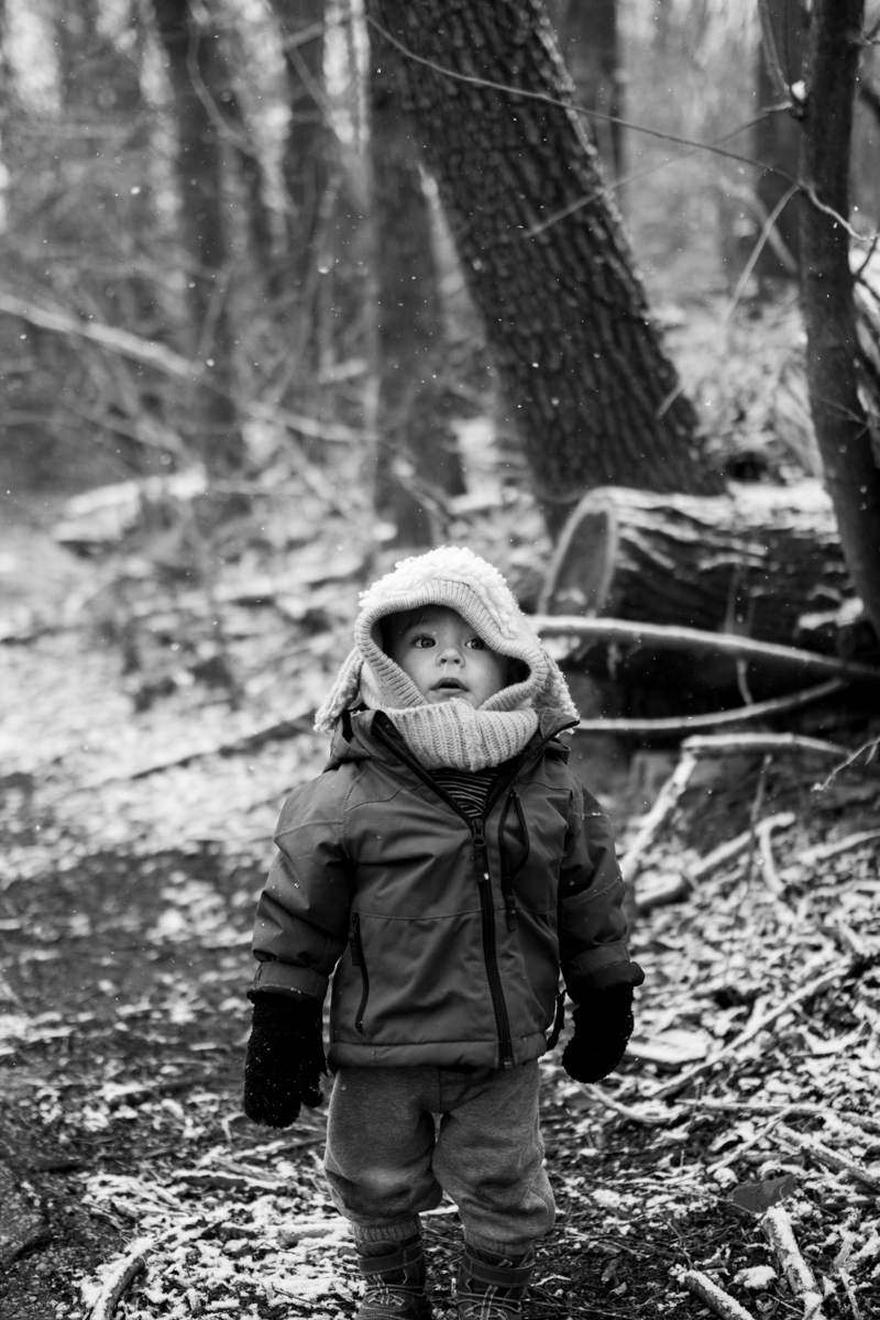 Kansas City, MO lifestyle family photographer toddler in the snow winter family photography black and white photography