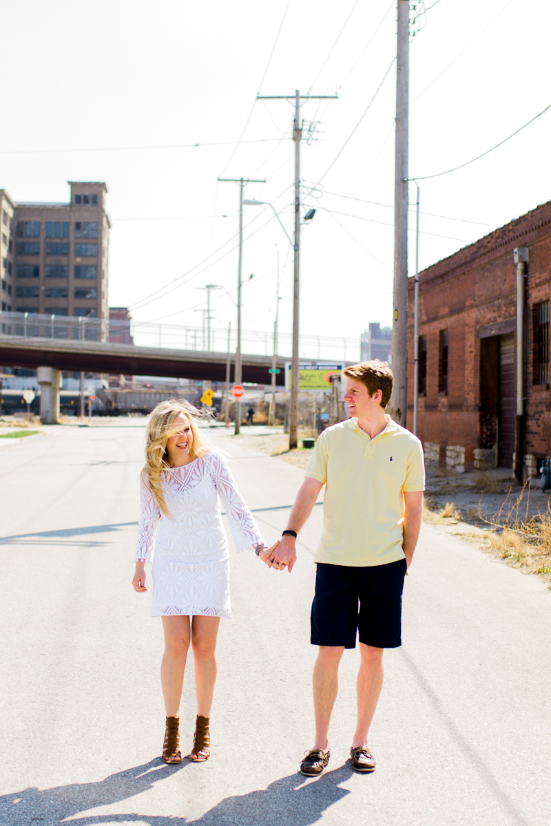 Engagment photos in Kansas City west bottoms sunny day engagment photography