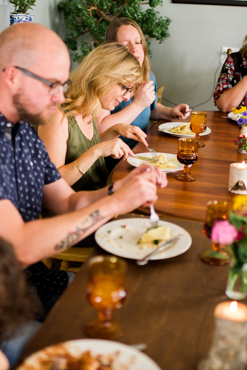 Kansas City small business lifestyle photography seven swans creperie people eating crepes dinner party