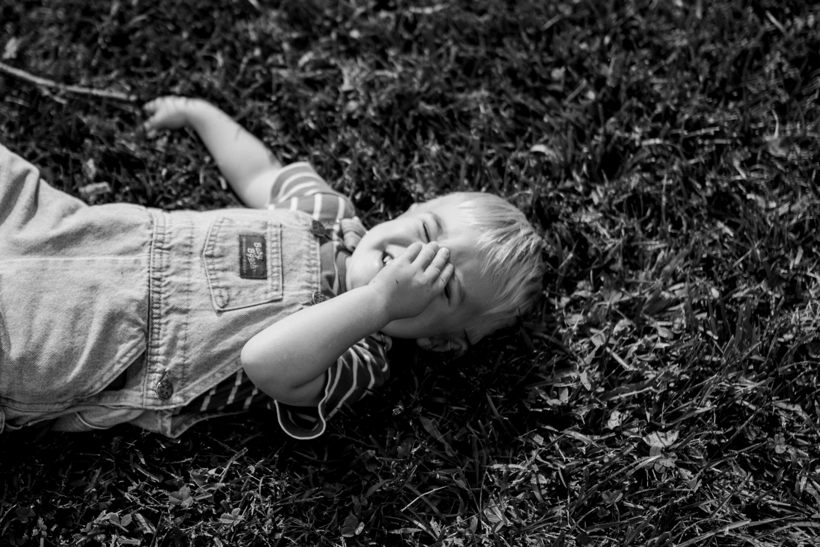 Rebecca Clair Photography Kansas City lifestyle photographer, fall mini session, fall family photos, boy laughing in the grass