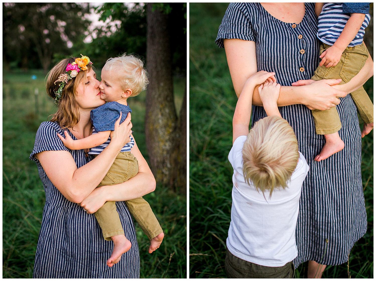 Mother and sons in the evening light, candid family portraits, Kansas City family photographer