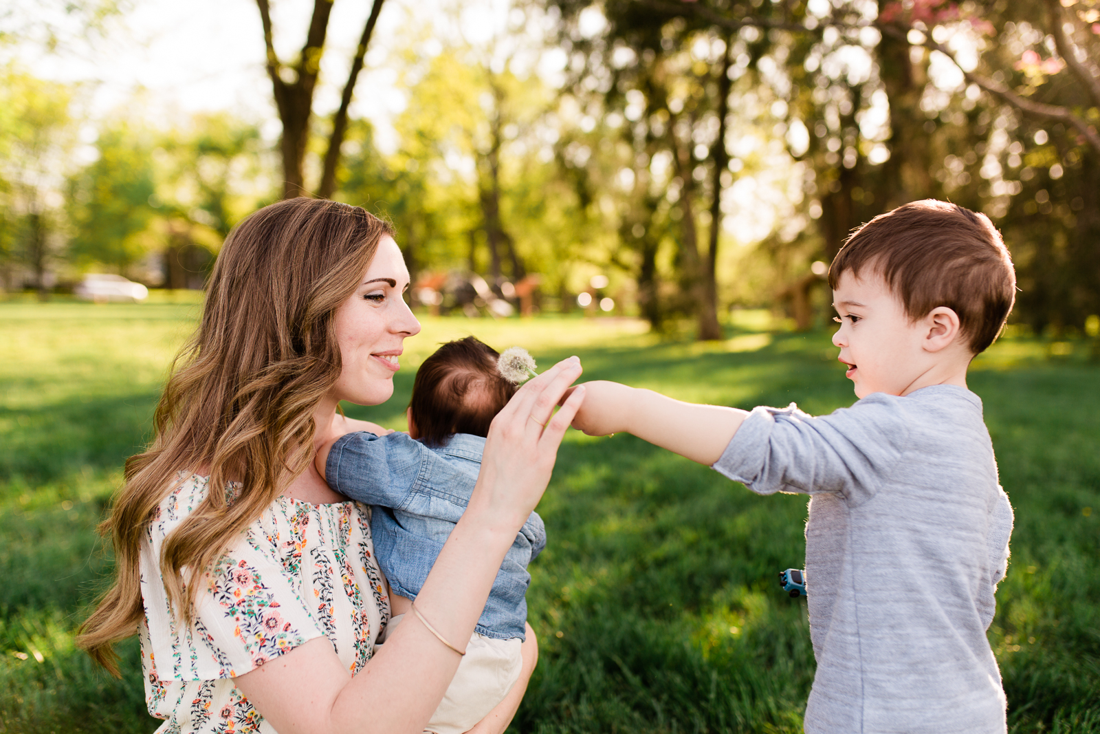 Mother and sons with dandelions, golden hour session at Loose park, mommy and me session, Kansas City family photographer, Rebecca Clair Photography