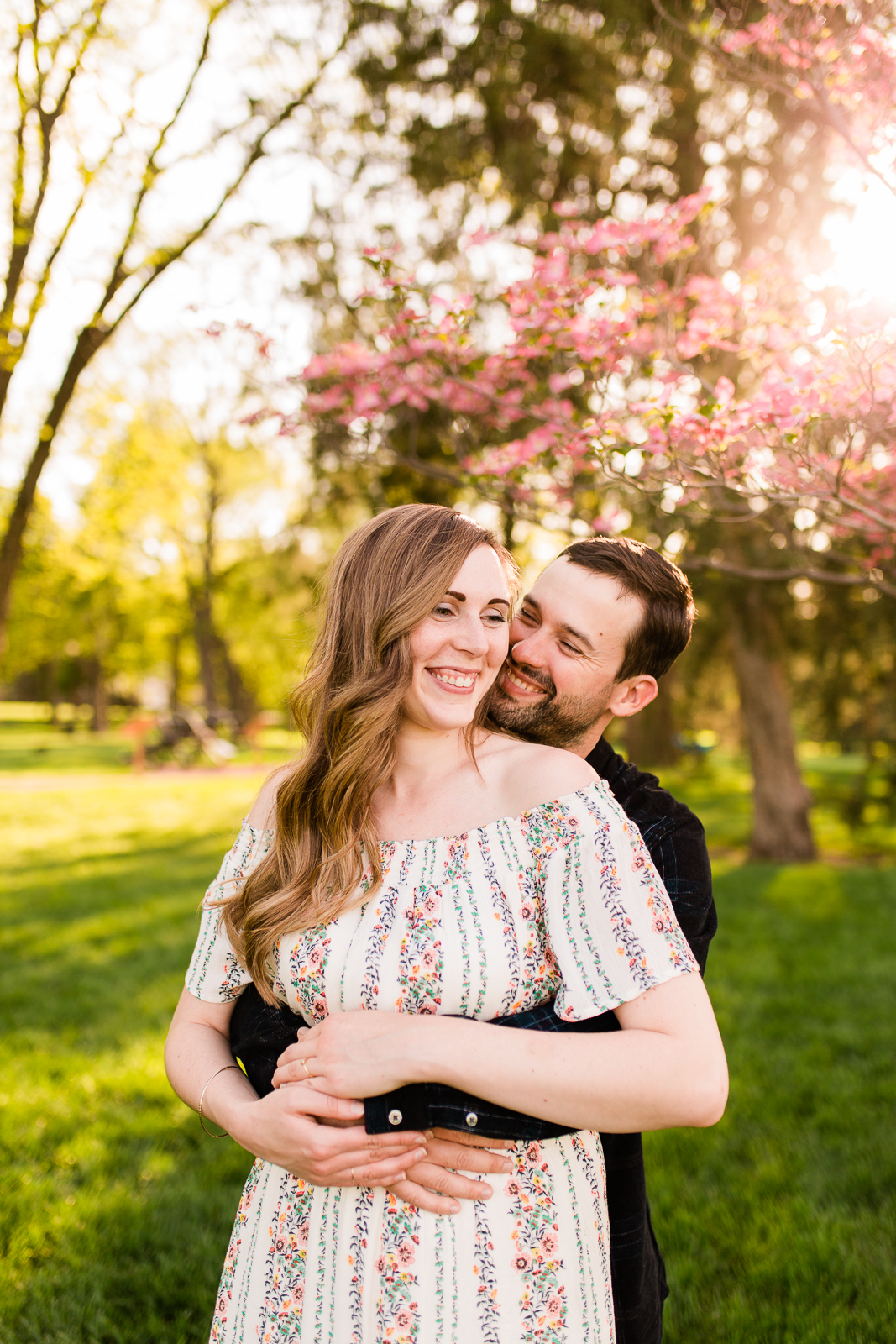 Spring couples session under a flowering tree, Loose Park golden hour session, Kansas City couples photographer, Rebecca Clair Photography