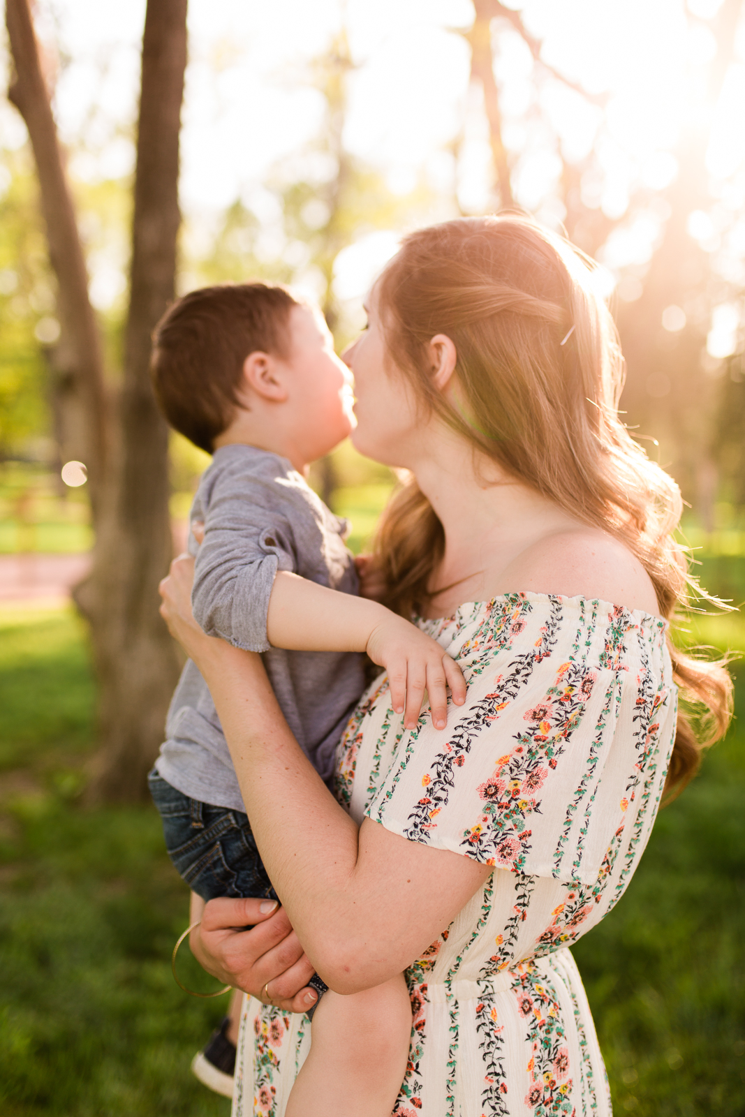 Mother and son in the golden evening light, Kansas City creative family photographer, Rebecca Clair Photography