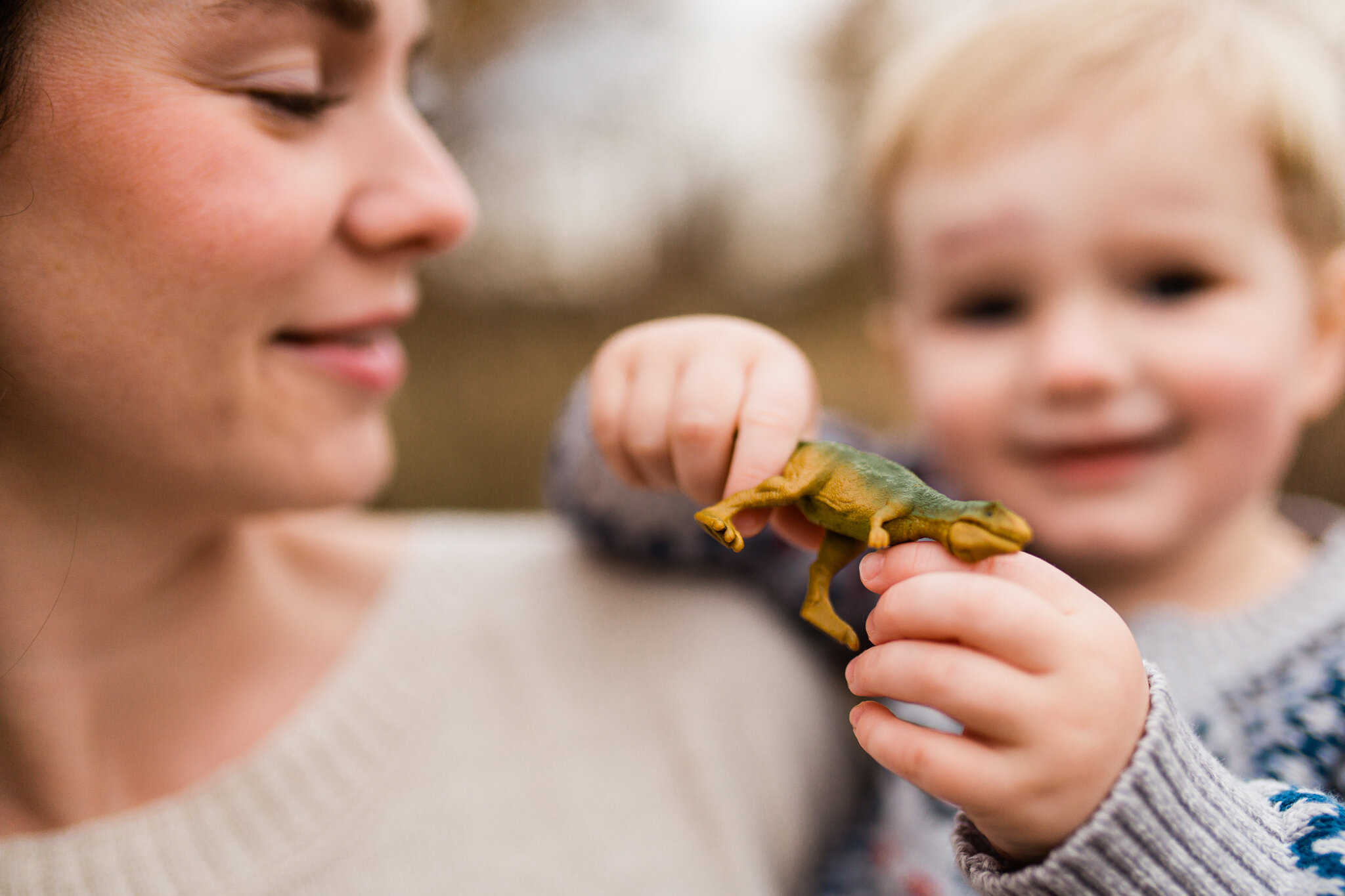 Mother holds her son holding a toy dinosaur, Kansas City real life family photos, Rebecca Clair Photography