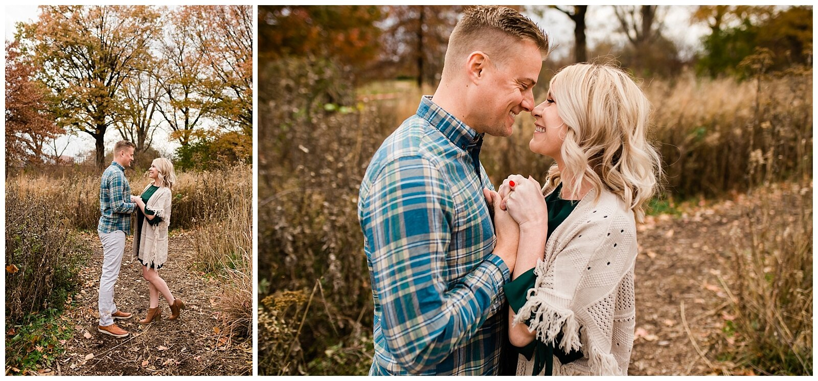 Couple faces each other on a gray autumn day, Kansas city autumn session, Rebecca Clair Photography