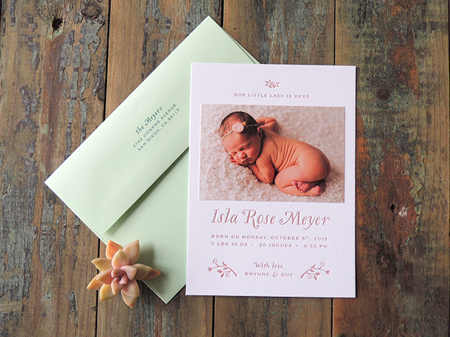 Harken Press : letterpress birth announcement