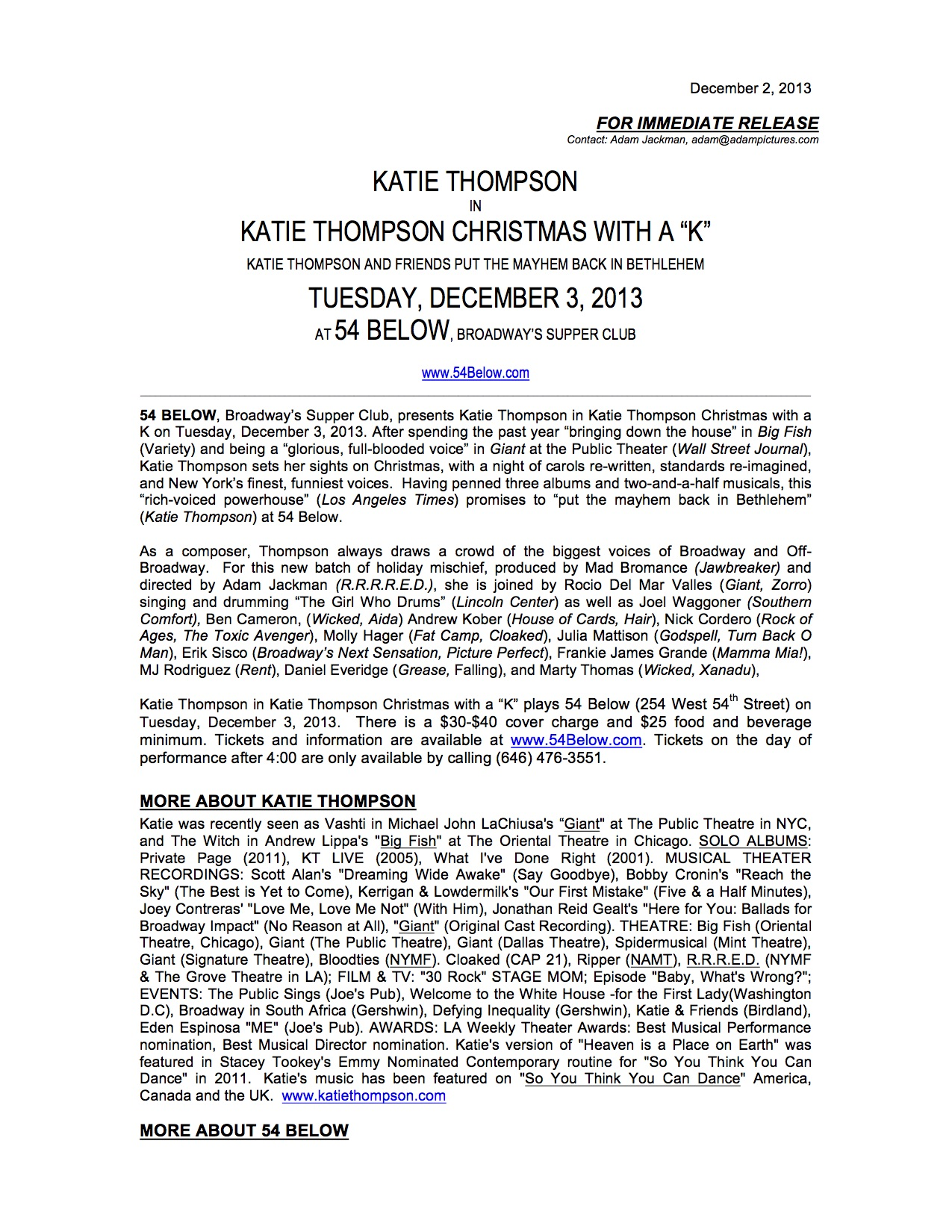 Press Release for Katie Thompson Christmas with a K-02Dec2013 page 1.jpg