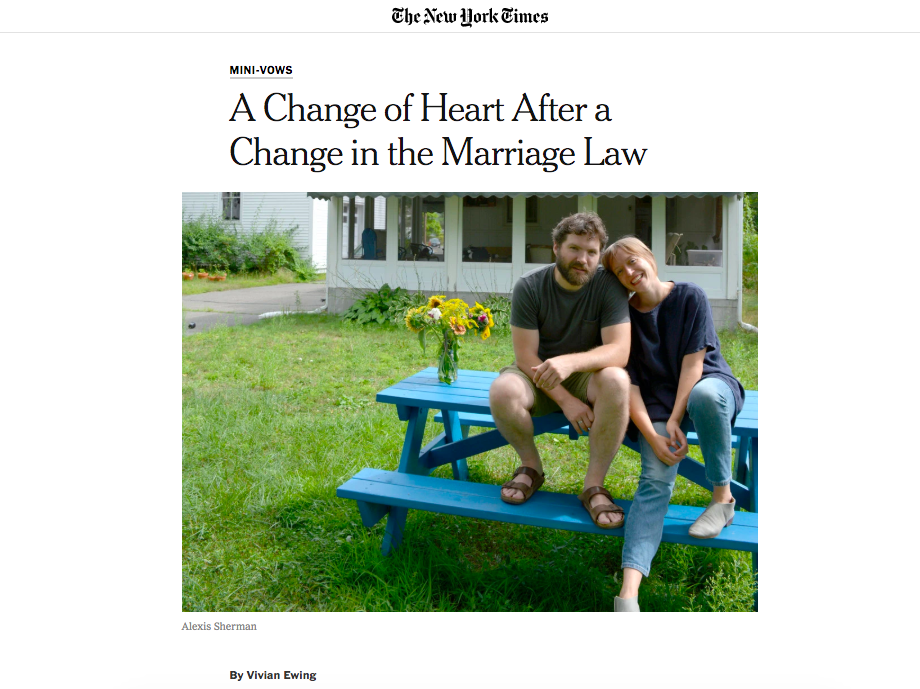 A Change of Heart After a Change in the Marriage Law - The New York Times