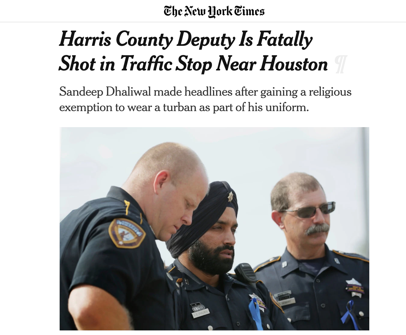 Harris County Deputy Is Fatally Shot in Traffic Stop Near Houston - Contributing reporter, The New York Times