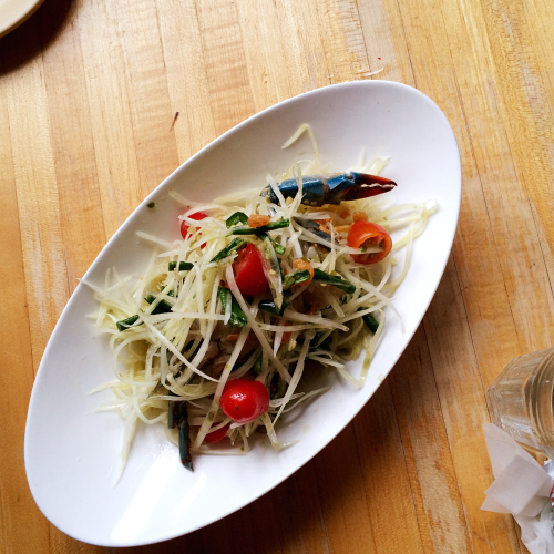 Green Papaya Salad with raw, salted blue crab