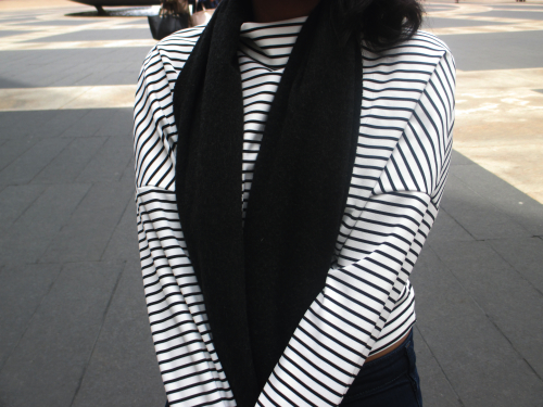 J. Crew Cashmere scarf, Teen Spirit striped top