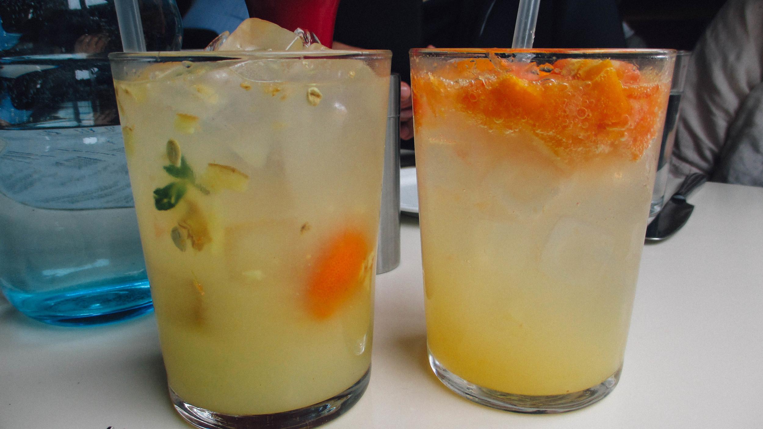 L: Kumquat Ginger Lemonade, R: Orange Refresher