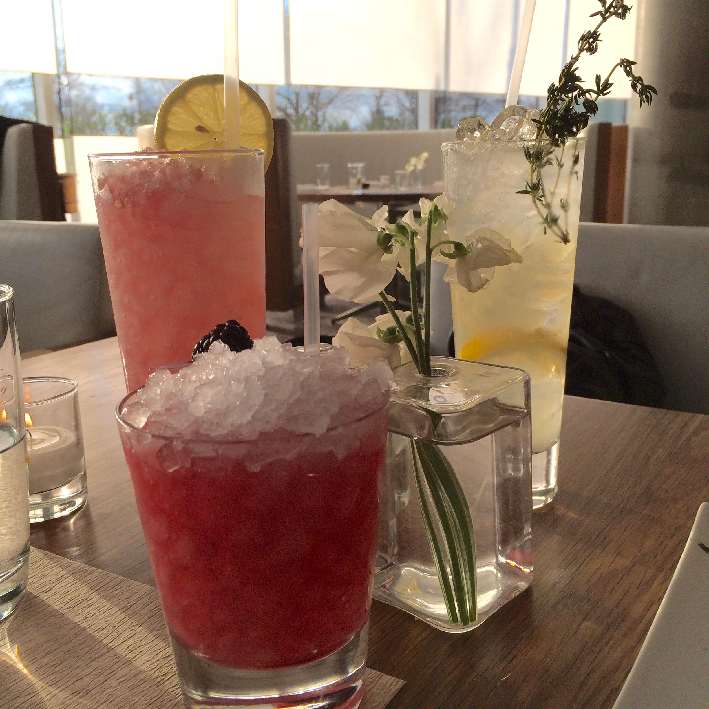 L to R: sochu smash,bramble, and vodka thyme lemonade