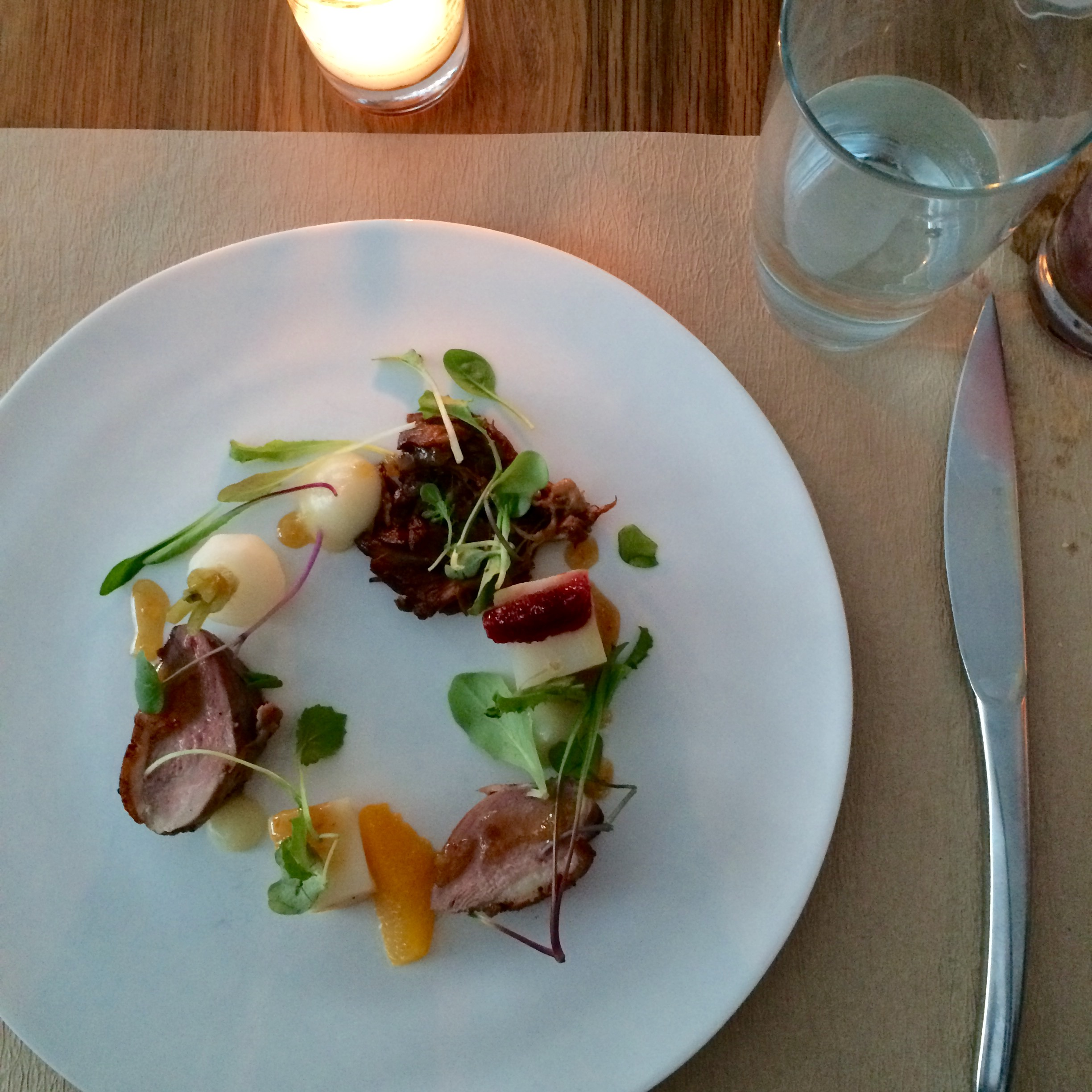 Roasted crescent duck with turnips, celeriac, citrus, and a ginger-chilli sauce