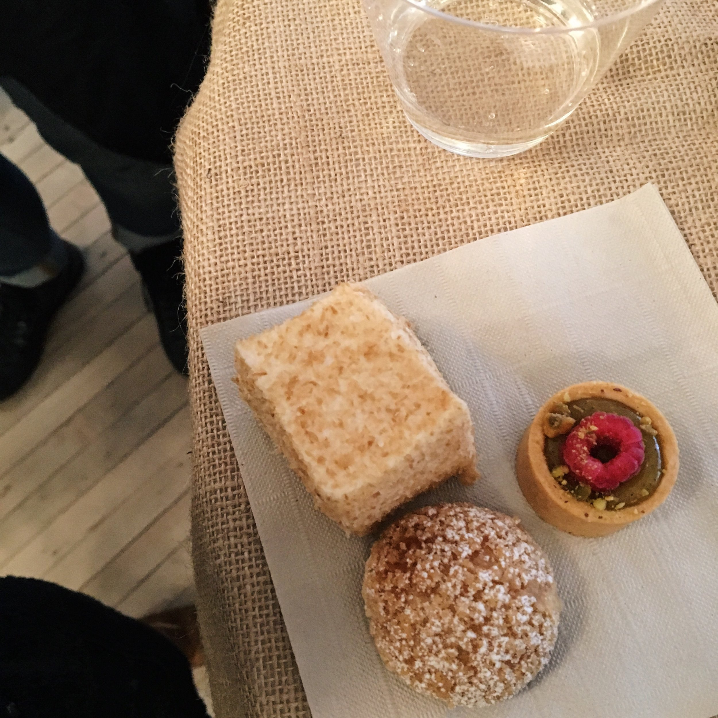 L to R: Coconut marshmallow, raspberry pistachio tart, choux