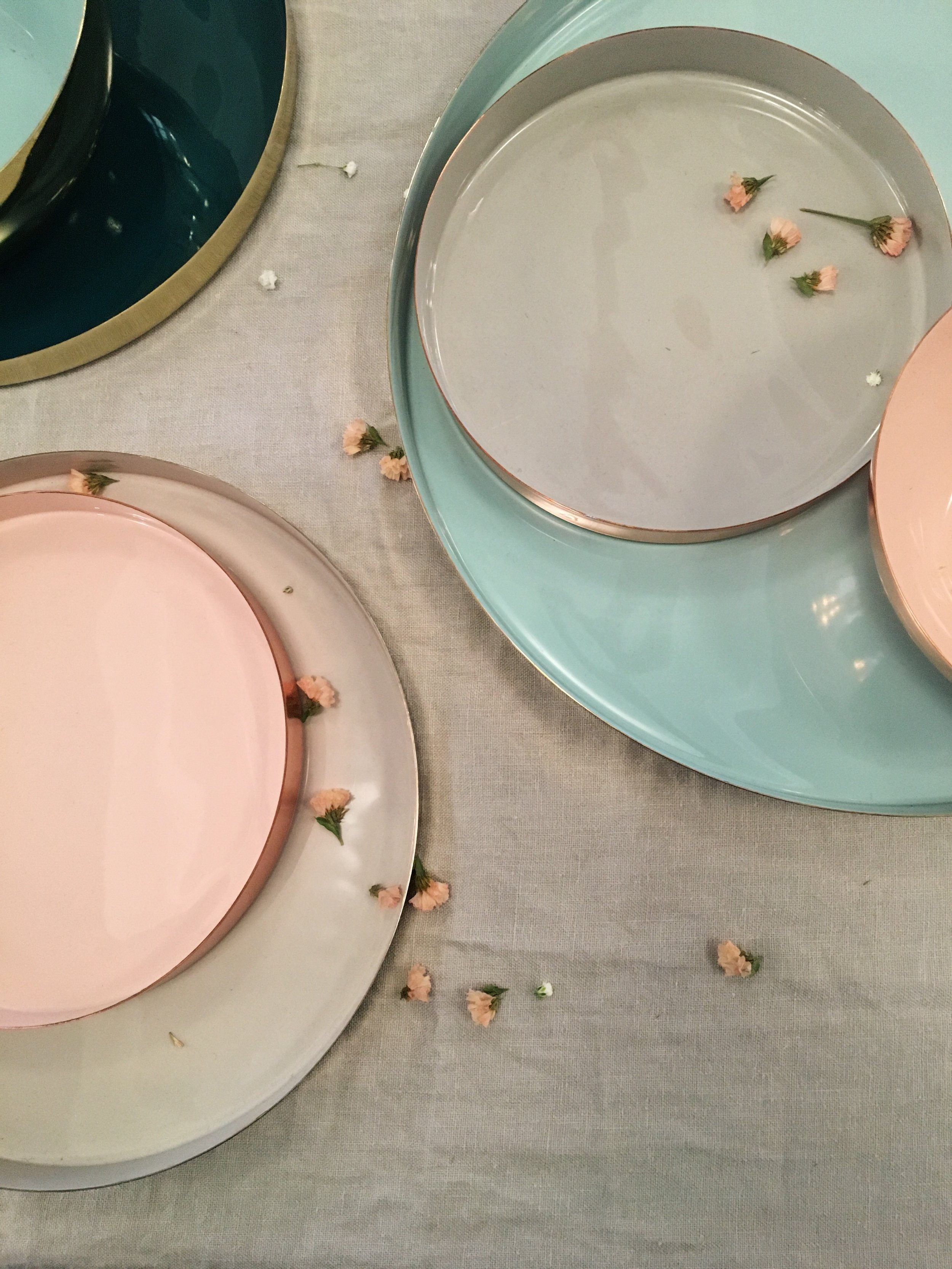 Copper, Brass, and enamel Louise trays by Hawkins New York