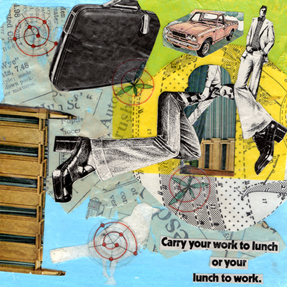 American Tourister  . Mixed media collage on 300 lb. cold-pressed 100% rag paper with original vintage ephemera. 7 x 7 inches. 2012.