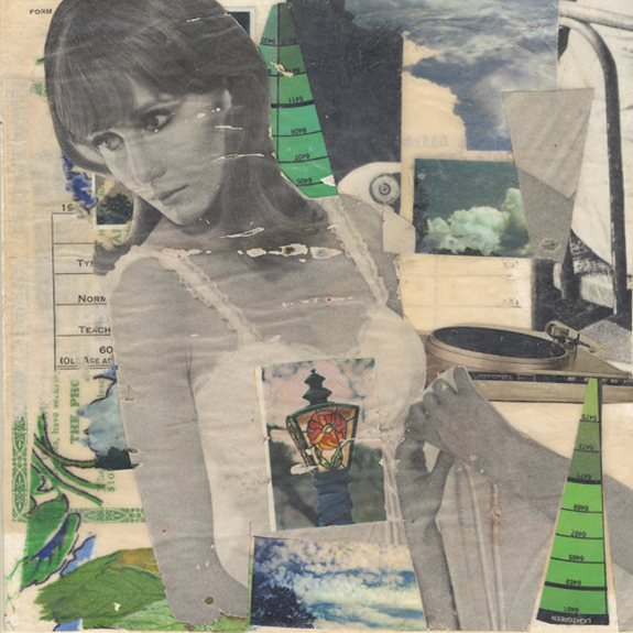 I Didn't Know I was Supposed to Have a Self. Mixed media collage on 300 lb. cold-pressed 100% rag paper with original vintage ephemera. 7 x 7 inches. 2013.