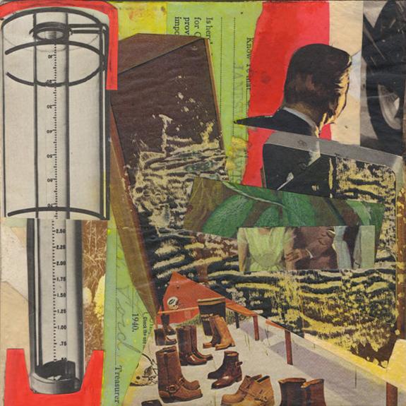 Treasurer. Mixed media collage on 300 lb. cold-pressed 100% rag paper with original vintage ephemera. 7 x 7 inches. 2013.
