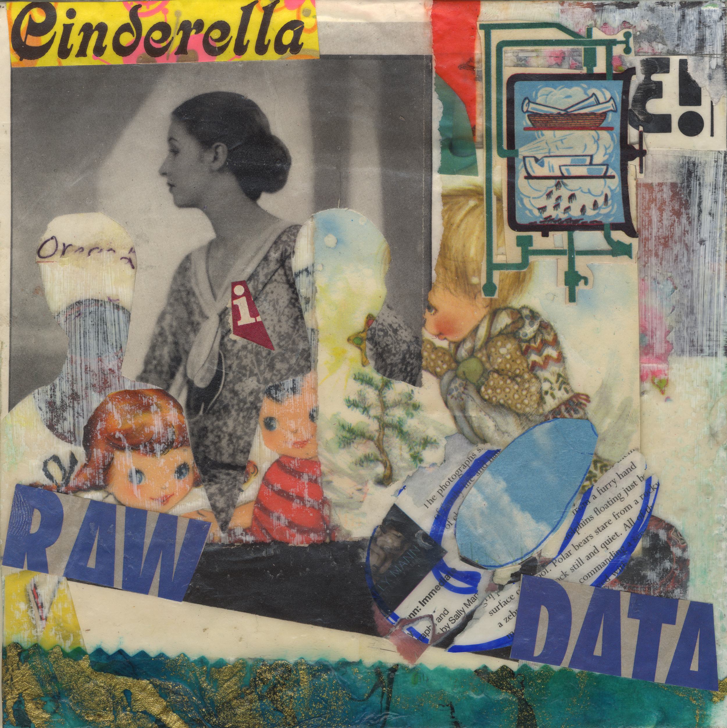 Cinderella. Mixed media collage on 300 lb. cold-pressed 100% rag paper with original vintage ephemera. 7 x 7 inches. 2014.