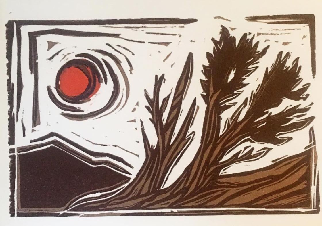 BLOOD MOON BRISTLECONE  Linocut Print