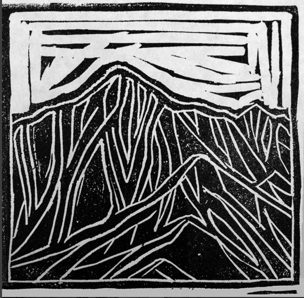 MT MORRISON LINOCUT  Linocut Print