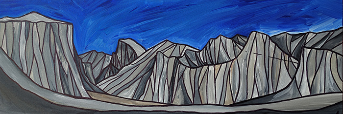 "YOSEMITE VALLEY  California A crylic 12"" x 36"""