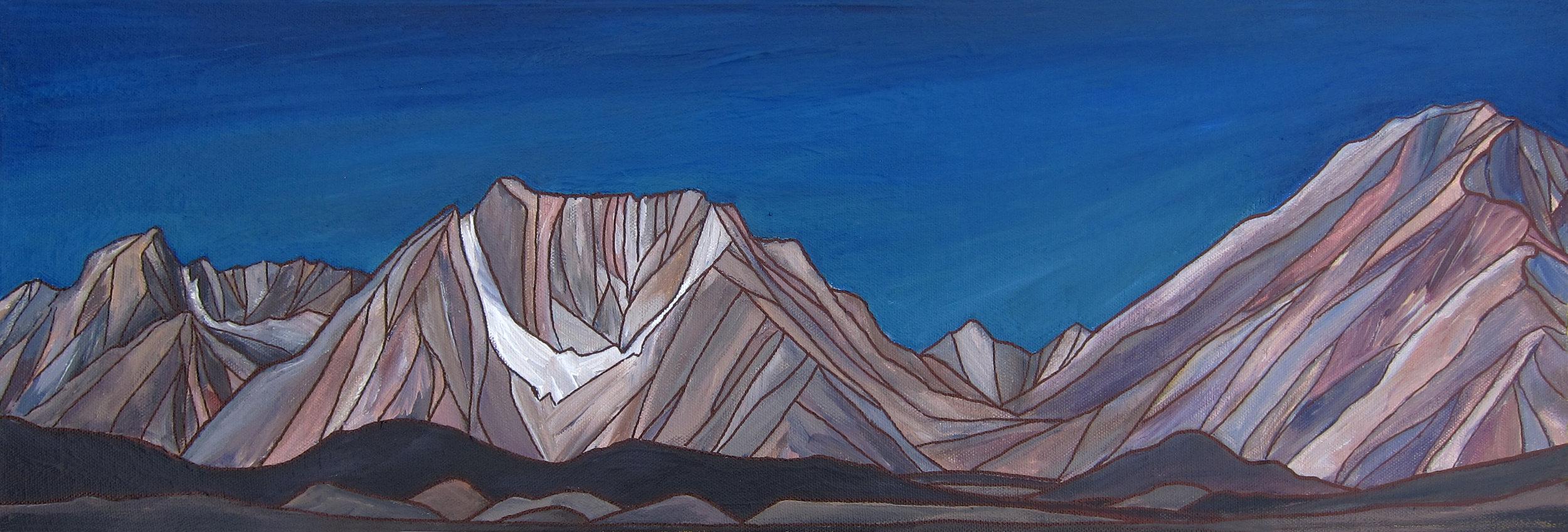 """BISHOP SKYLINE  Sierra Nevada A crylic 8""""x24"""""""