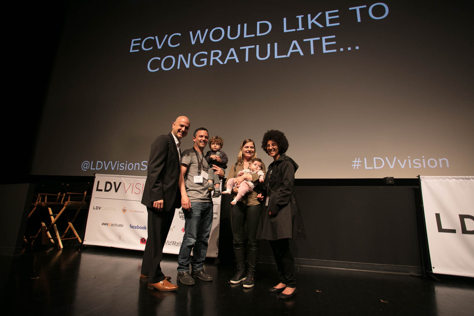 We are a family affair! Serge, August, Kirstine and Emilia Belongie along with Evan Nisselson celebrating Timnit Gebru's win in the 2017 Entrepreneurial Computer Vision Challenge. See you next year! #carpediem ©Robert Wright/LDV Vision Summit
