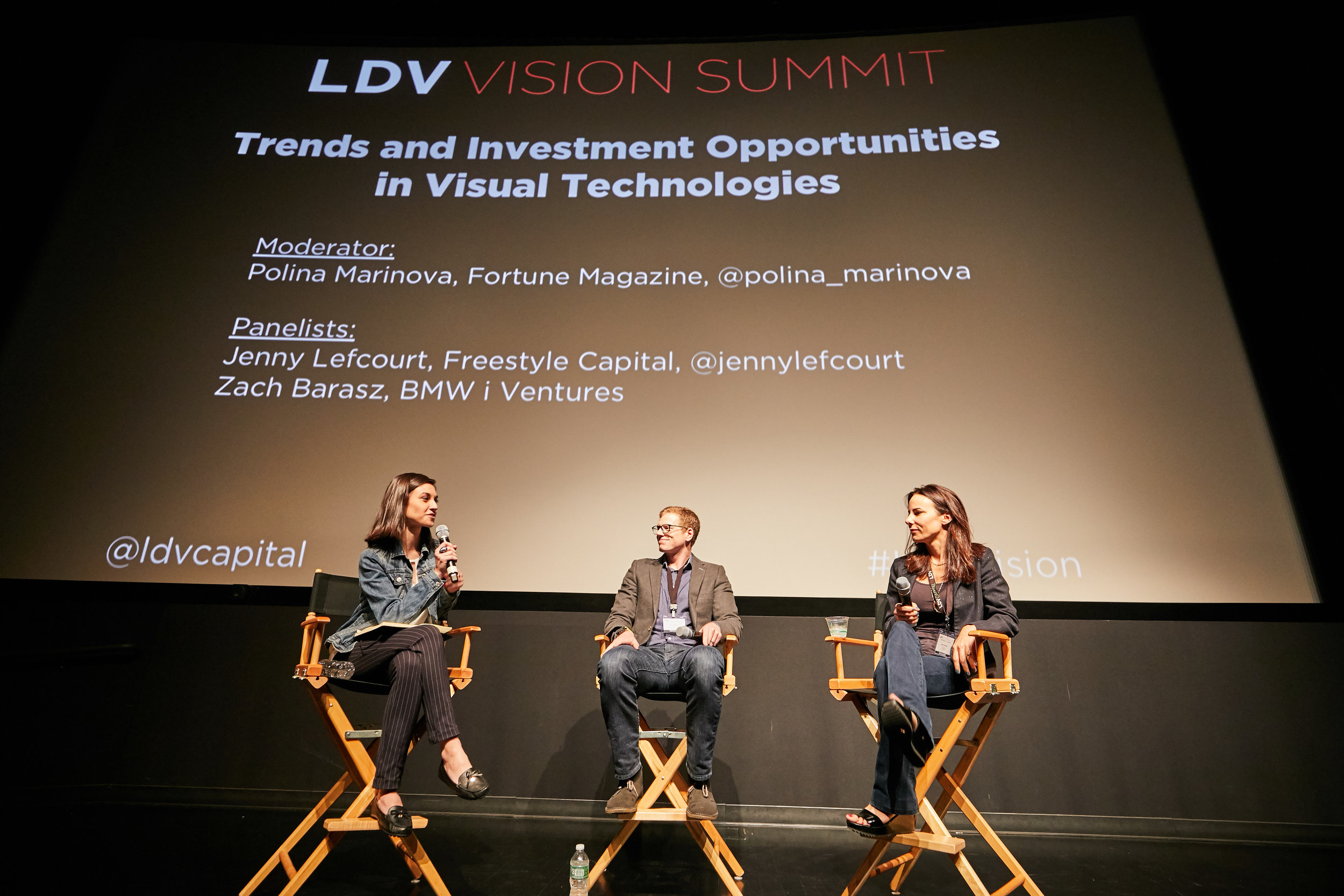 Panel Day 1: Trends in Visual Technology Investing [L to R] Polina Marinova, Fortune Magazine, Zach Barasz, BMWi Ventures, Jenny Lefcourt, Freestyle Capital  ©Robert Wright/LDV Vision Summit 2018