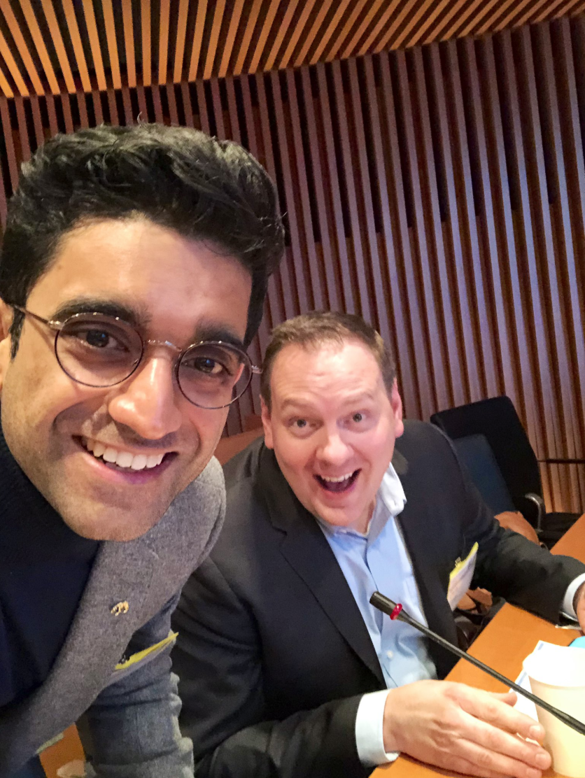 (L to R) Zavain Dar and Chris Gibson of Recursion Pharmaceuticals at Goldman Sachs in NYC