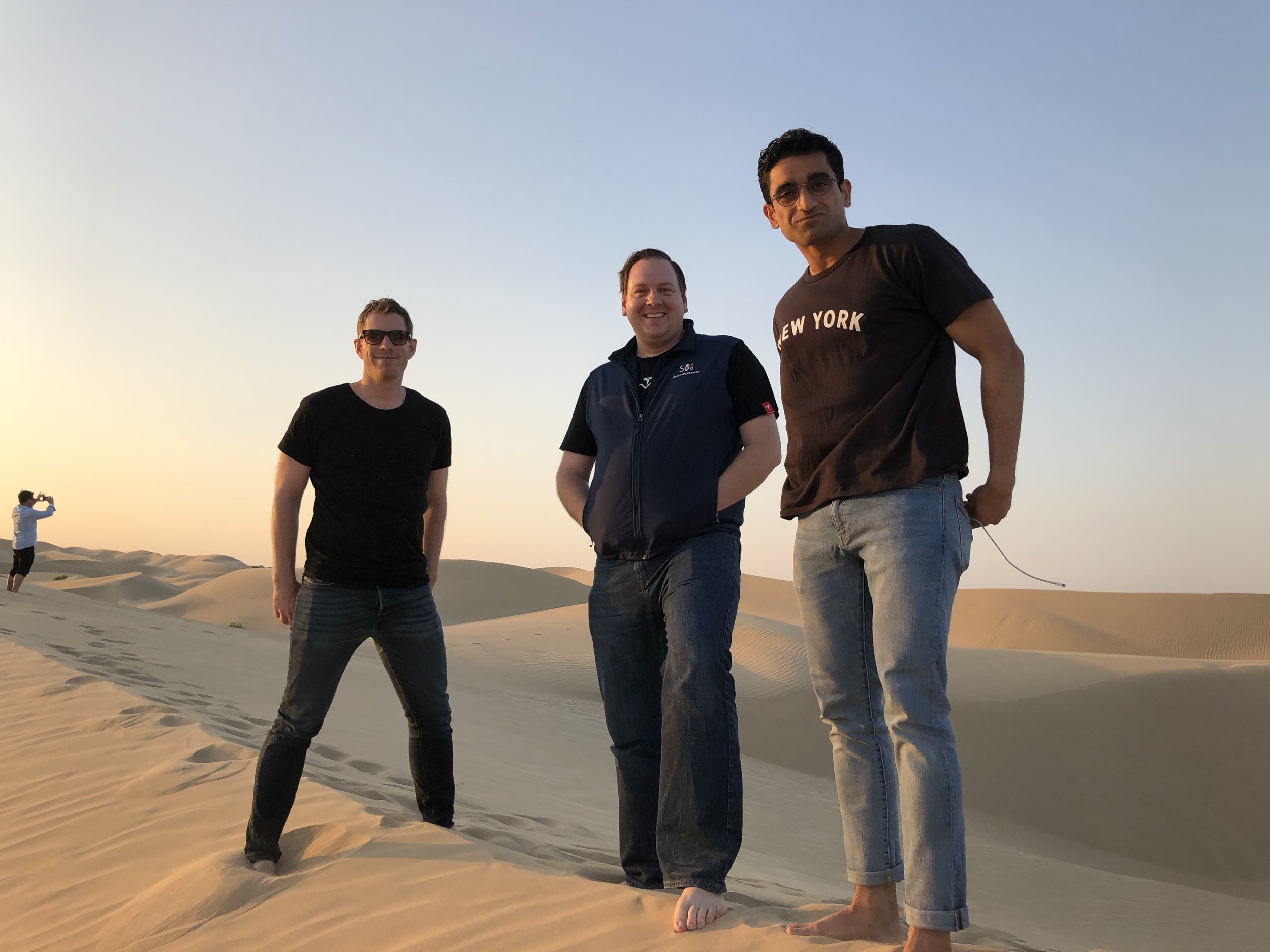 (L to R) Sean Gourley of Primer, Chris Gibson of Recursion, and Zavain Dar in Abu Dhabi