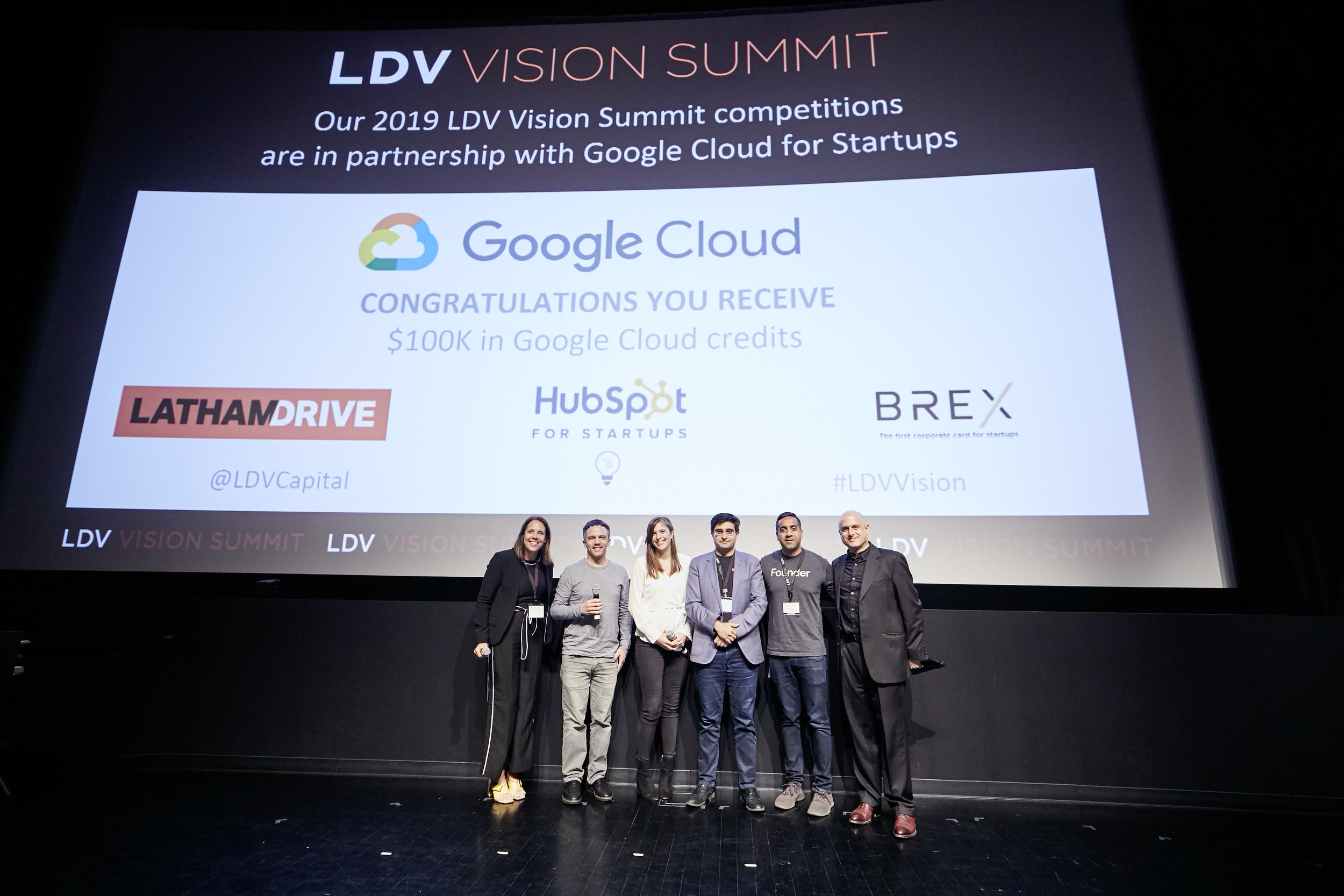 Celebrating Shapes AI's victory in the 2019 Startup Competition [L to R] Rebecca Paoletti of CakeWorks, Serge Belongie of Cornell Tech, Abby Hunter-Syed of LDV Capital, Seena Rejal of Shapes AI, Tejpaul Bhatia of Google Cloud and Evan Nisselson of LDV Capital ©Robert Wright/LDV Vision Summit 2019