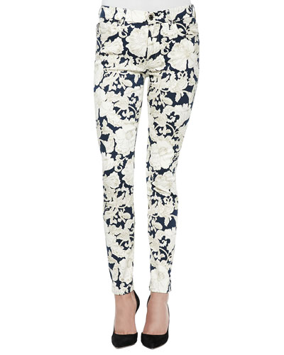 7 for All Mankind Floral Print Skinny Jean
