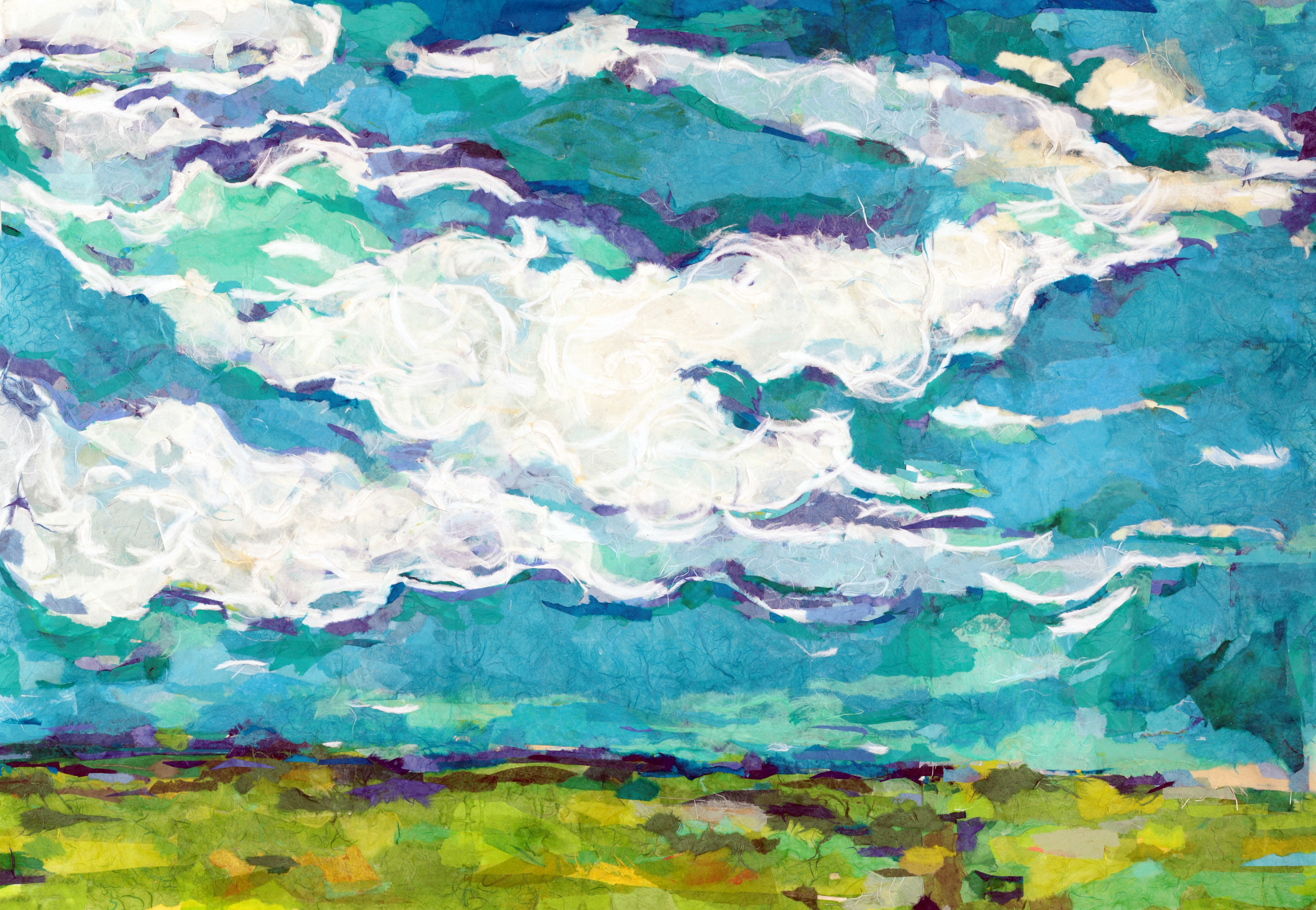 Prairie Sky - 32 x 44 in. / $4,200                                                                                                ↑ Top of page ↑Torn artisanal papers on Mylar film / Custom framed with Conservation Clear GlassClick here to see pieces similar to Prairie Sky.