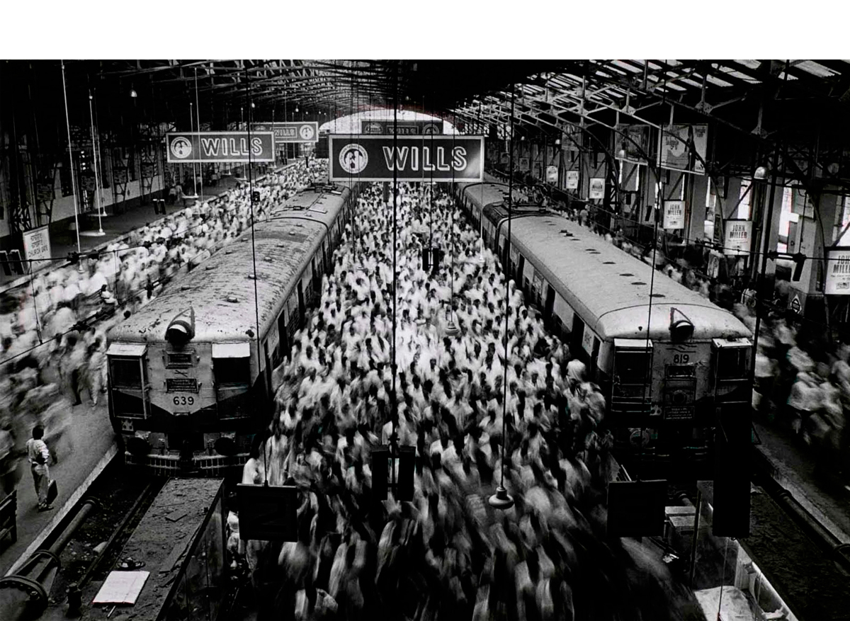 Church Gate Station, Western Railroad Line, Bombay, India, 1995   20 x 24 inches.  Gelatin silver print