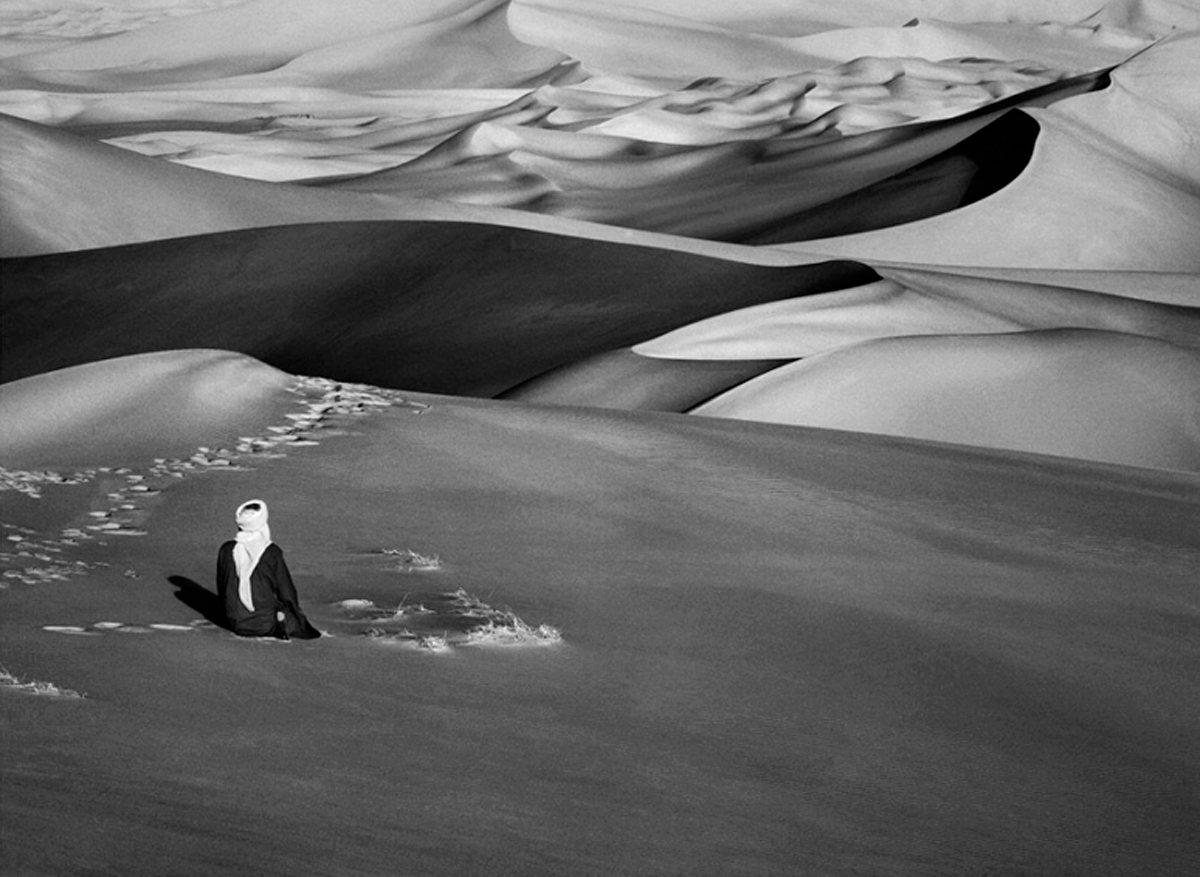 Sahara, South of Djanet, Algeria (Man Praying), 2009  50 x 68 inches  Gelatin silver print