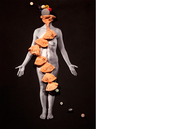Untitled, 2013  16 x 12 inches Poly-cotton archival print, found objects, gesso