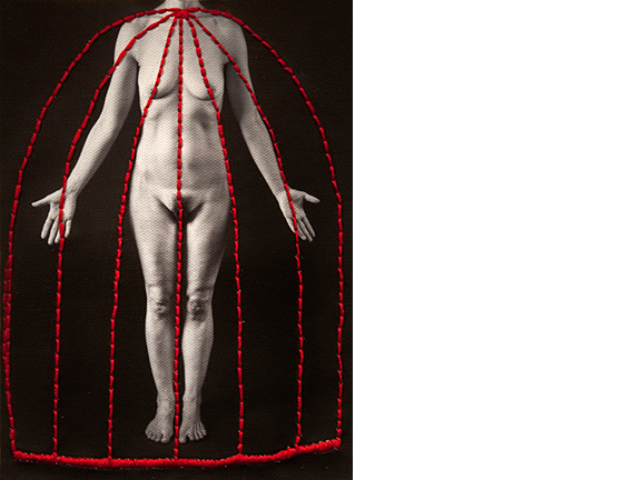 Untitled, 2013  16 x 12 inches Poly-cotton archival print, yarn, gesso