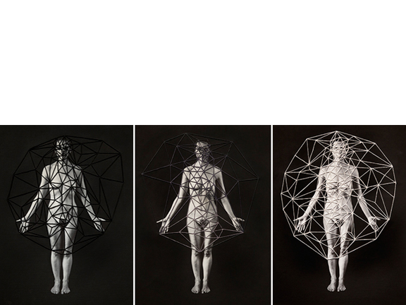 Untitled (triptych), 2014  16 x 12 inches each Poly-cotton archival print, thread, and gesso mounted on wood panel