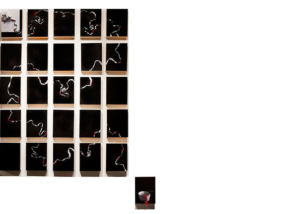 Untitled, 2013  dimensions variable Mixed media on poly-cotton archival prints, gesso mounted on wood panels