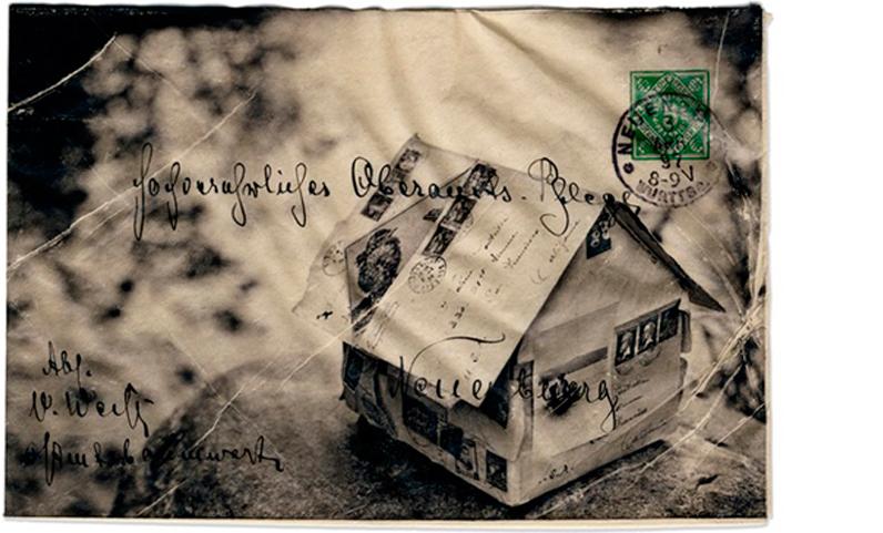 RACHEL PHILLIPS  Dusk 1897  11 x 14 inches framed Wet transfer pigment on to vintage envelope