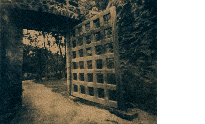 ERIN MALONE  The Gate   6 x 7.5 inches  Tea toned Gum over Cyanotype on Arches Hot press paper