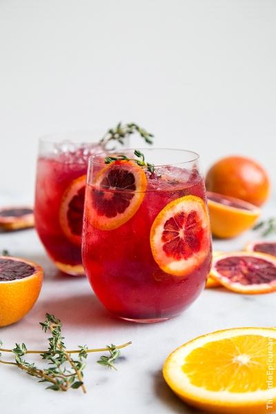 Blood Orange Elderflower Gin Cocktail via thelittleepicurean.com