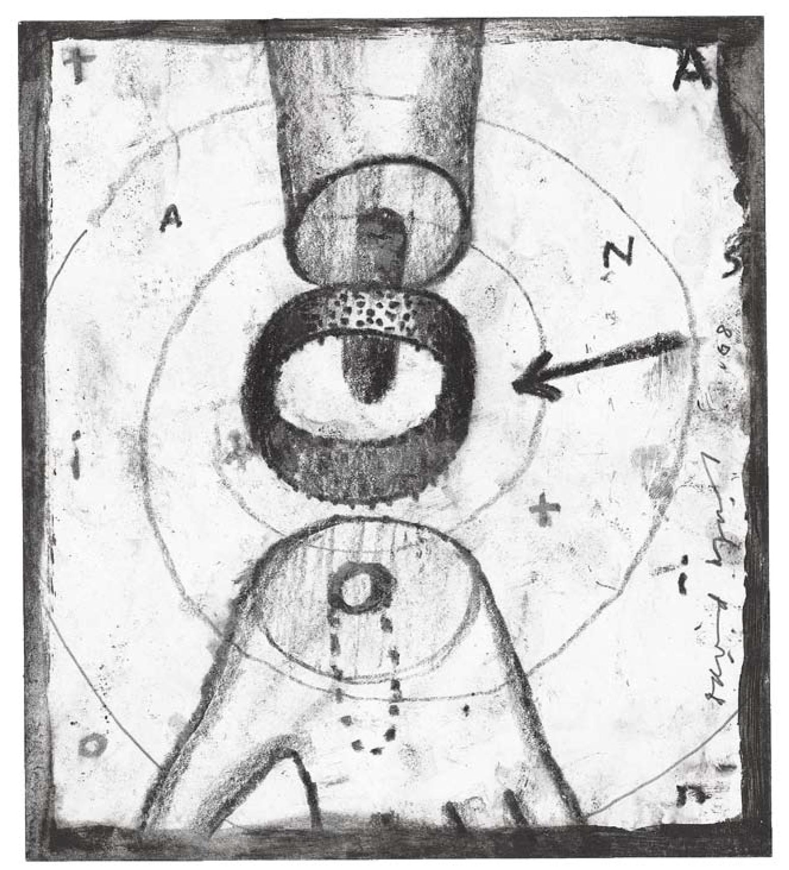 T.R.A.N.S.I.T.I.O.N. Charcoal and pen on paper, 18 x 16 cm, 2008