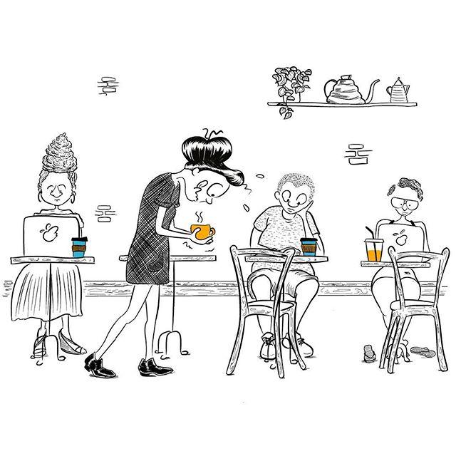 🇺🇸#NoSpillChallenge Or walking around a coffee shop with a reusable cup & keeping the  barista's 🖤 art ... People using disposable cups with lids don't know the fun they're missing.  Nor do they know that  about 50 billion disposable cups are thrown away every year in the US. ( source @carryyourcup)  By using a reusable cup everyday, a person can reduce her trash by 23 lbs a year. 🇫🇷#courseàlacuillère revisité. A New York, la majorité des cafés se prennent au comptoir.  Du coup tout le monde commande à emporter même quand ils s'assoient!  Ils ne connaissent pas le fun de traverser une salle avec tasse pleine, ni qu'environ 50 milliards de tasses jetables sont jetées chaque année et que cela représente 12 kilos de déchets par an et par personne.