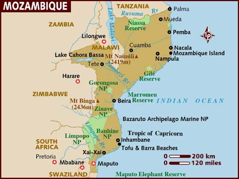 Map of Mozambique. LONELY PLANET
